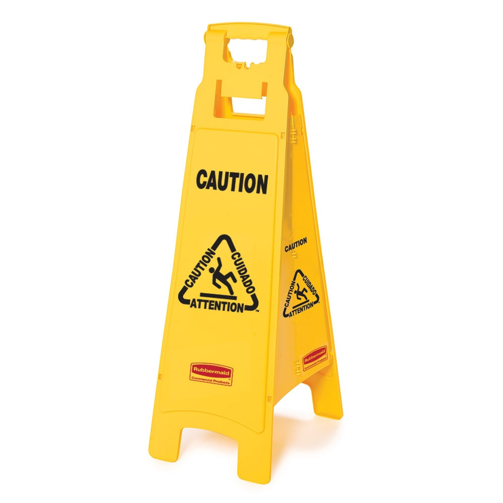 """Rubbermaid FG611400YEL 4-Sided Floor Sign - """"Caution"""" Multi-Lingual, Yellow"""