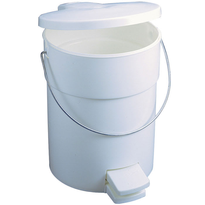 Rubbermaid FG614200WHT 4-1/2-gal Step-On Can - Rigid Liner, White