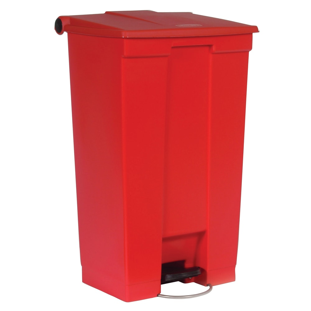 "Rubbermaid FG614600RED 23 gal Rectangle Plastic Step Trash Can, 19.75""L x 16 1/8""W x 32.5""H, Red"