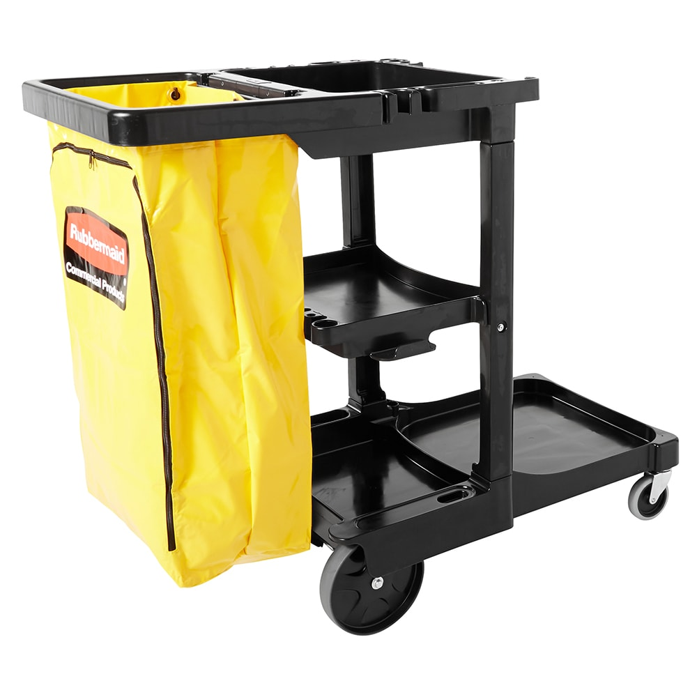 "Rubbermaid FG617388BLA Housekeeping Cart w/ 3 shelves, 46""L x 21.75""W x 38.375""H, Black"