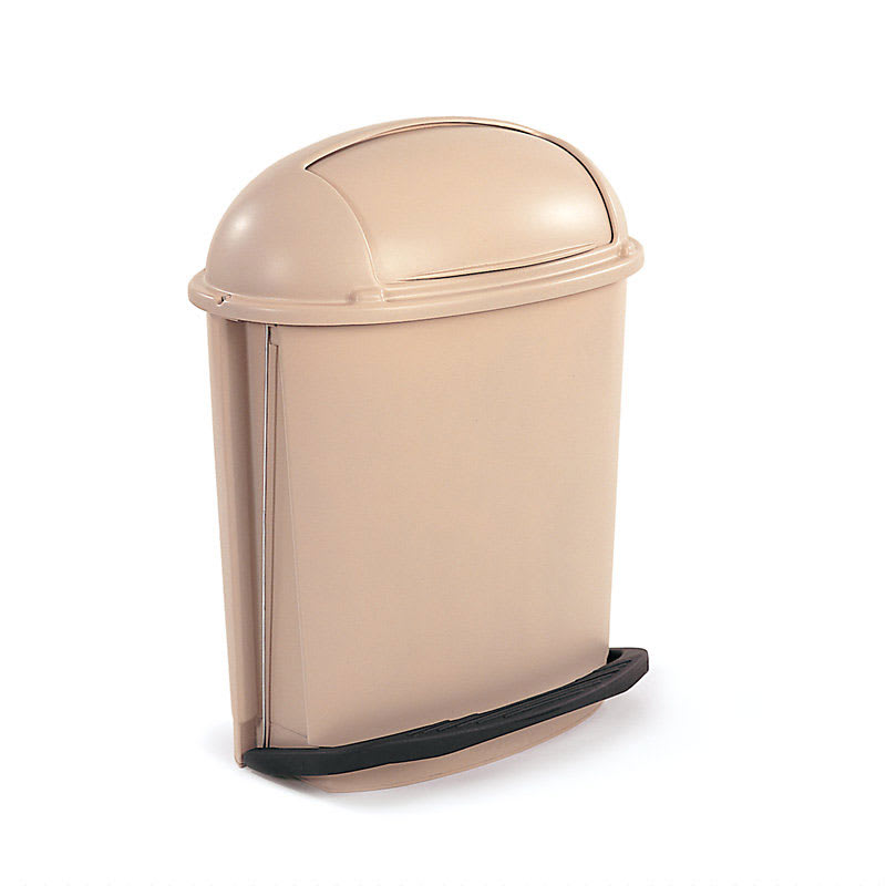 Rubbermaid FG617700BEIG 14-1/2-gal Pedal Container - Roll Top Lid, Beige