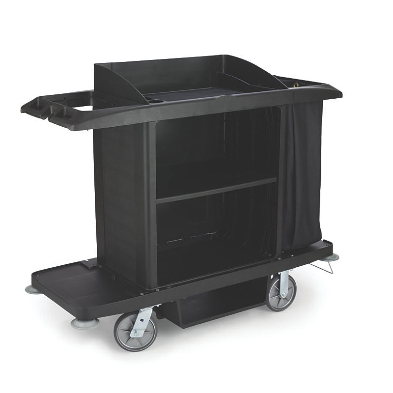 "Rubbermaid FG618900BLA Housekeeping Cart w/ Vacuum Holder, 60""L x 22""W x 50""H, Black"