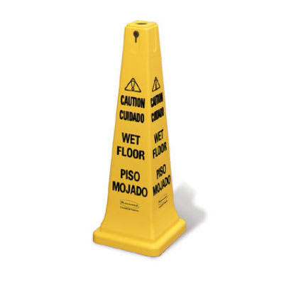 "Rubbermaid FG627677YEL Safety Cone - ""Caution Wet Floor"" Multi-Lingual, Yellow"