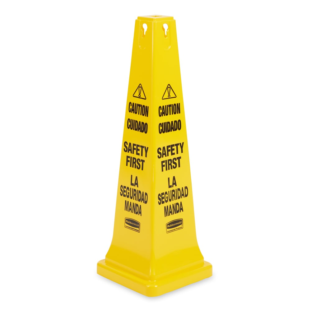 "Rubbermaid FG627687YEL Safety Cone - ""Caution, Safety First"" Multi-Lingual, Yellow"