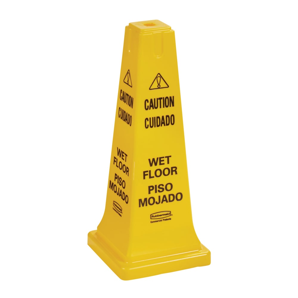 "Rubbermaid FG627777YEL Safety Cone - ""Caution, Wet Floor"" Multi-Lingual, Yellow"