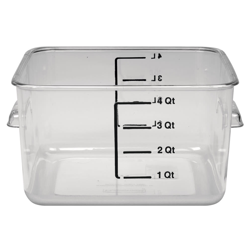 Rubbermaid FG630400CLR 4-qt Space Saving Square Container - Clear Poly