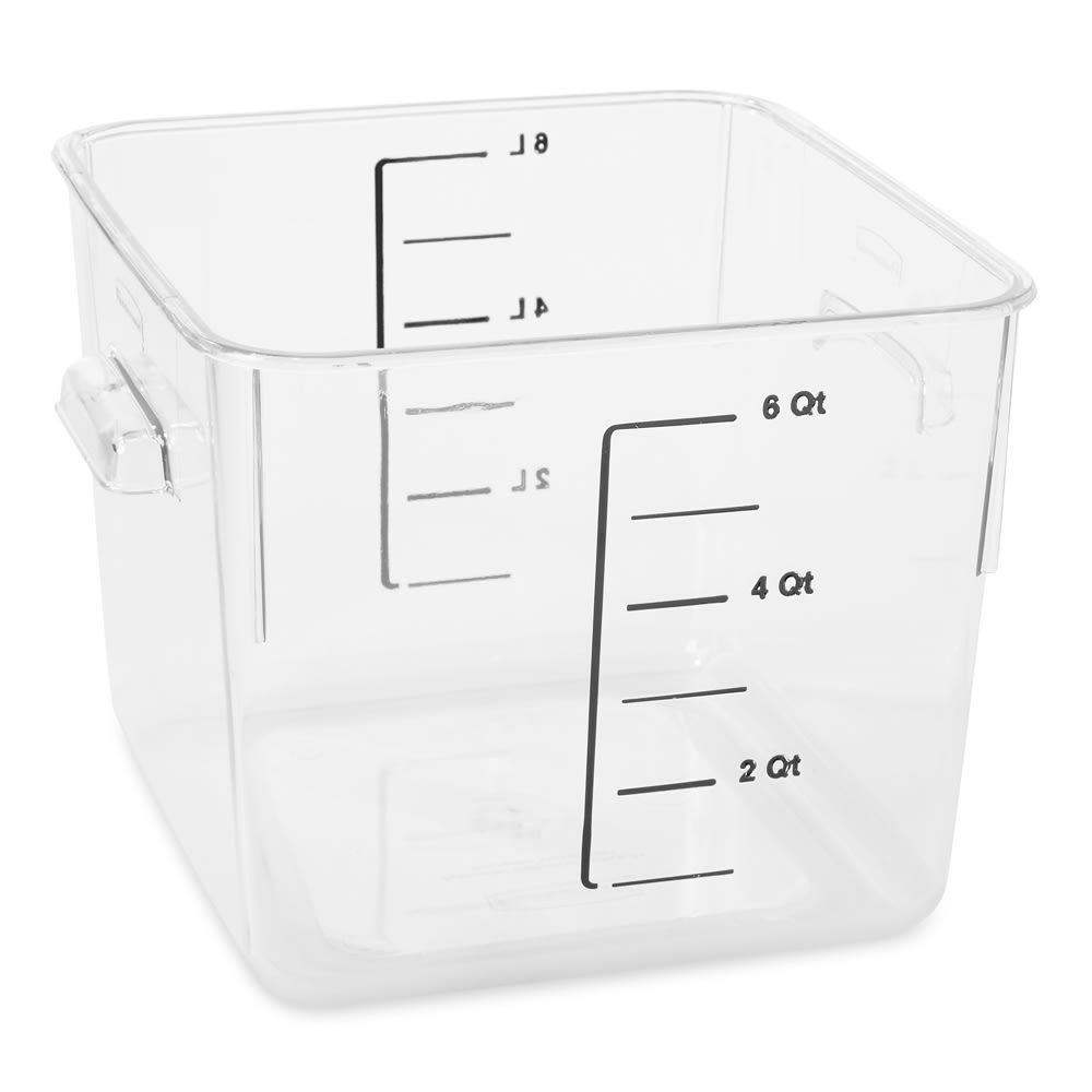 Rubbermaid FG630600CLR 6-qt Space Saving Square Container - Clear Poly