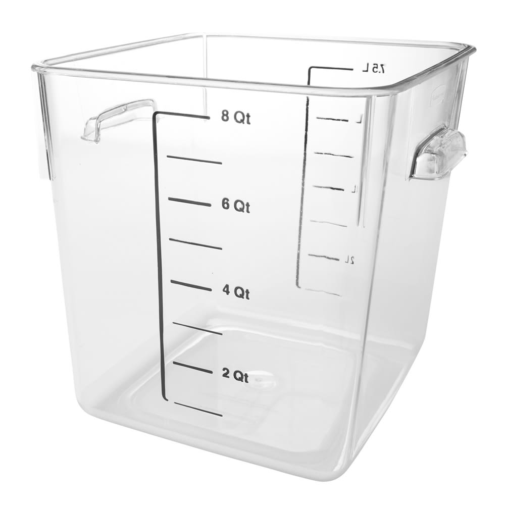 Rubbermaid FG630800CLR 8 qt Space Saving Square Container - Clear Poly