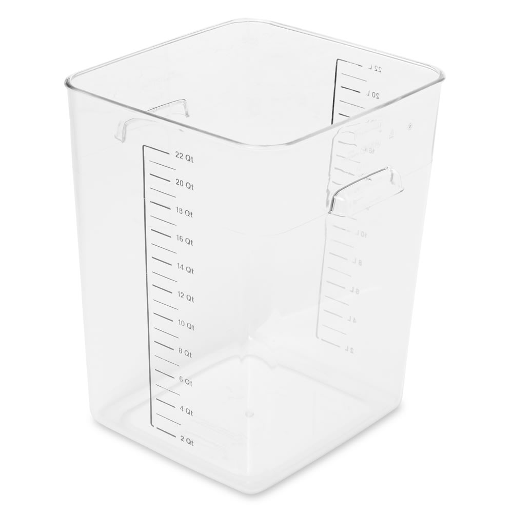 Rubbermaid FG632200CLR 22-qt Space Saving Square Container - Clear Poly