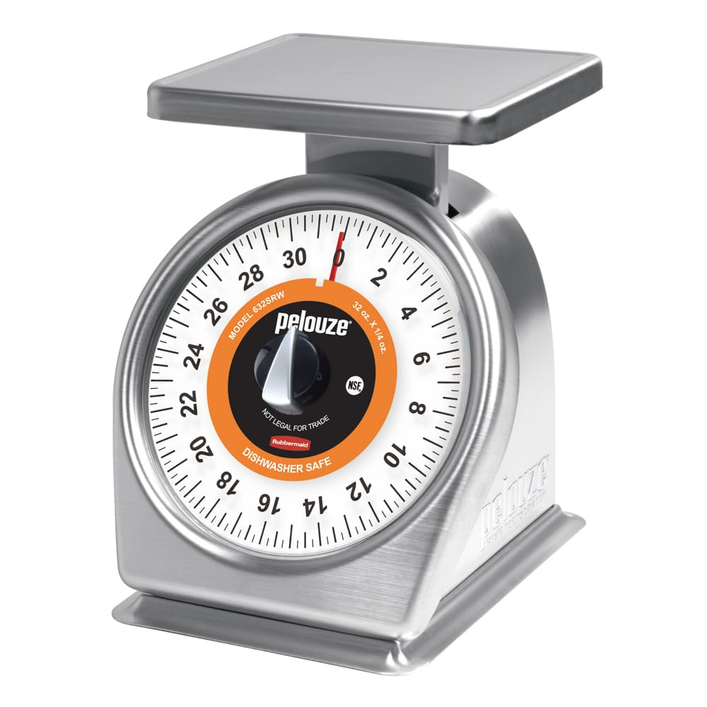 Rubbermaid FG632SRW Pelouze Portion Scale - Counter Model, Orange Lens, 32 oz x 1/4 oz, Stainless