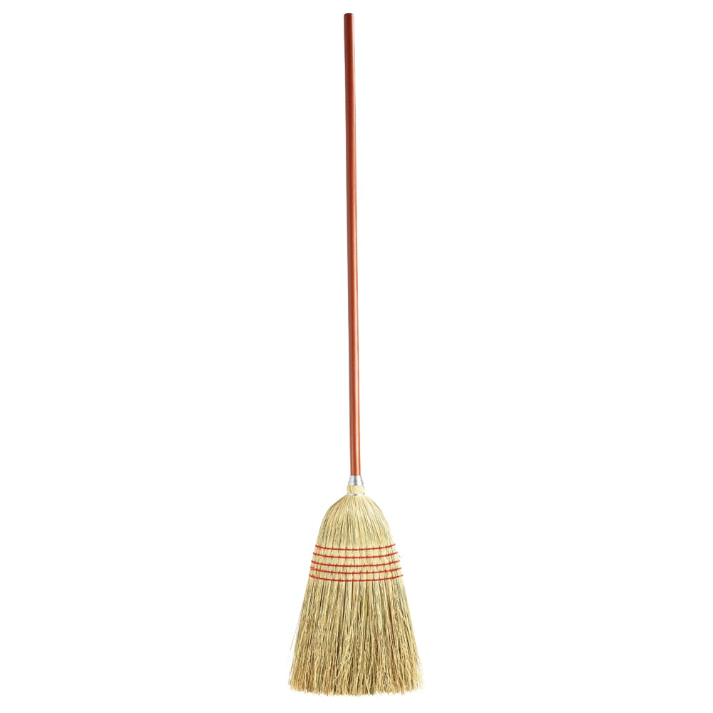 "Rubbermaid FG638100RED 57""L Indoor Outdoor Broom w/ Straight Corn Bristles & Stained Handle"