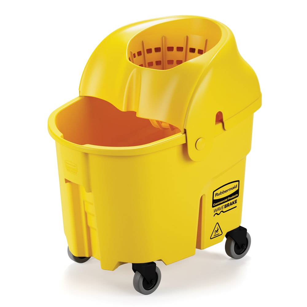 Rubbermaid FG759088YEL 35 qt WaveBrake Institutional Mopping Combo - Funnel-Shaped Wringer, Yellow