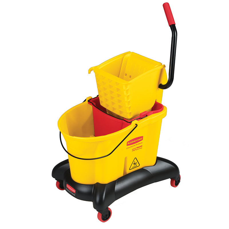 Rubbermaid FG768000YEL 35-qt WaveBrake Dual Water Mopping Combo - Side Press, Yellow