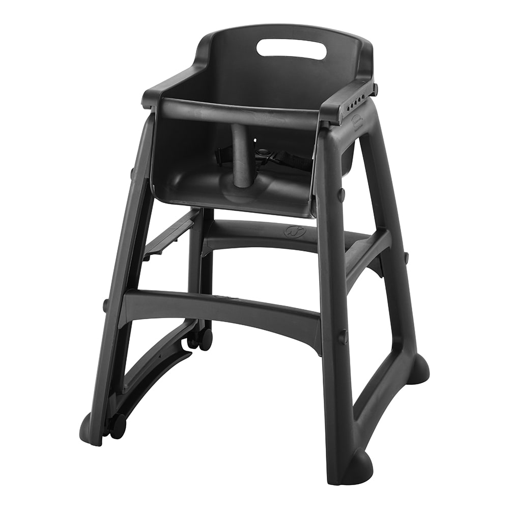 "Rubbermaid FG780508BLA 29.75"" Stackable High Chair w/ Waist Strap & Casters - Plastic, Black"