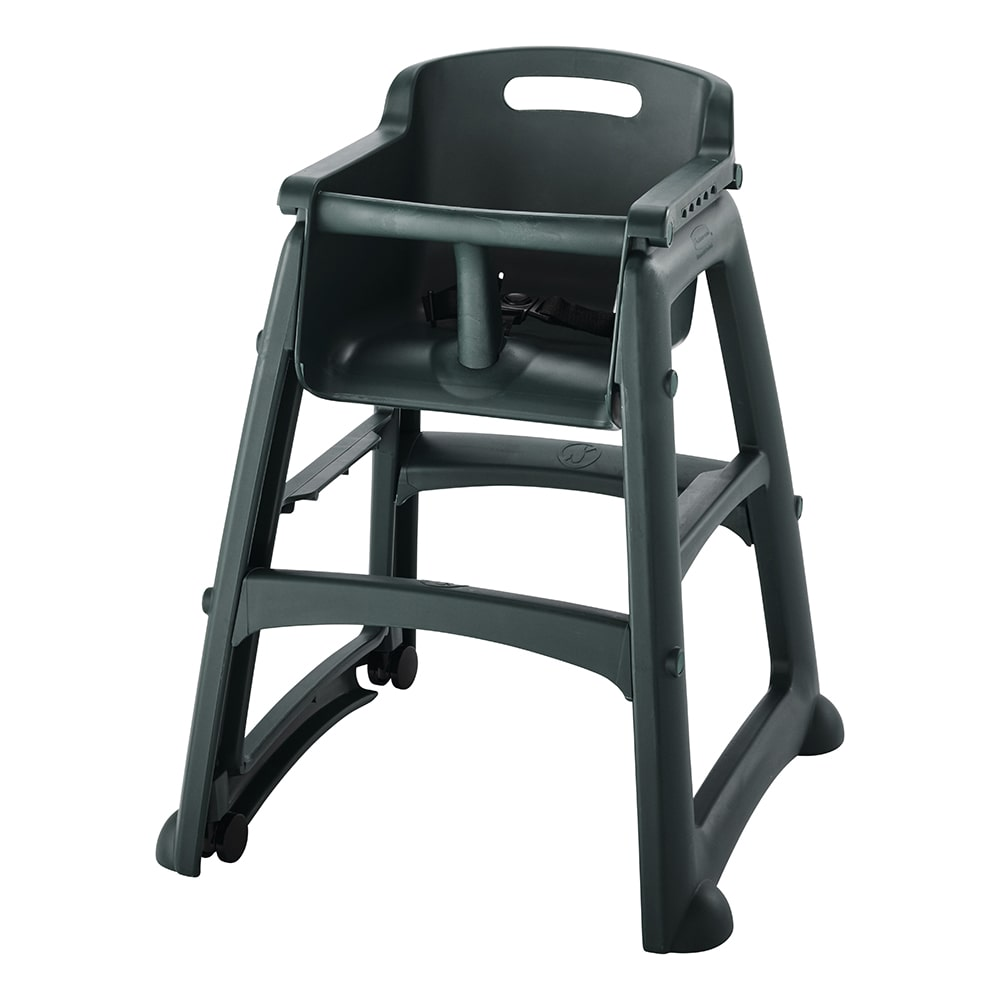 "Rubbermaid FG780508DGRN 29.75"" Stackable High Chair w/ Waist Strap & Casters - Plastic, Dark Green"