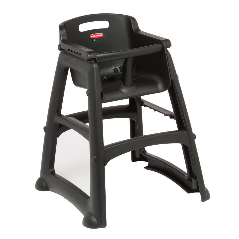 "Rubbermaid FG780608BLA 29.75"" Stackable High Chair w/ Waist Strap - Plastic, Black"