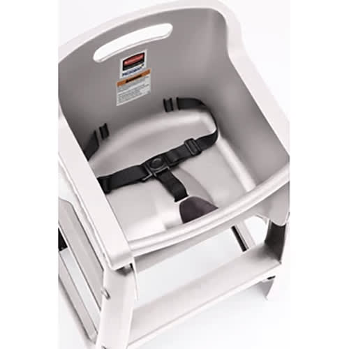 "Rubbermaid FG780608PLAT 29.75"" Stackable High Chair w/ Waist Strap - Plastic, Platinum"