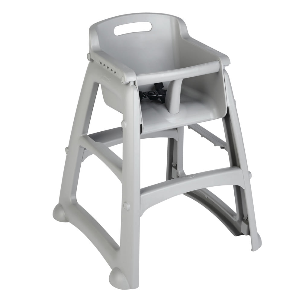 "Rubbermaid FG781408PLAT 29.75"" Stackable High Chair w/ Waist Strap - Plastic, Platinum"
