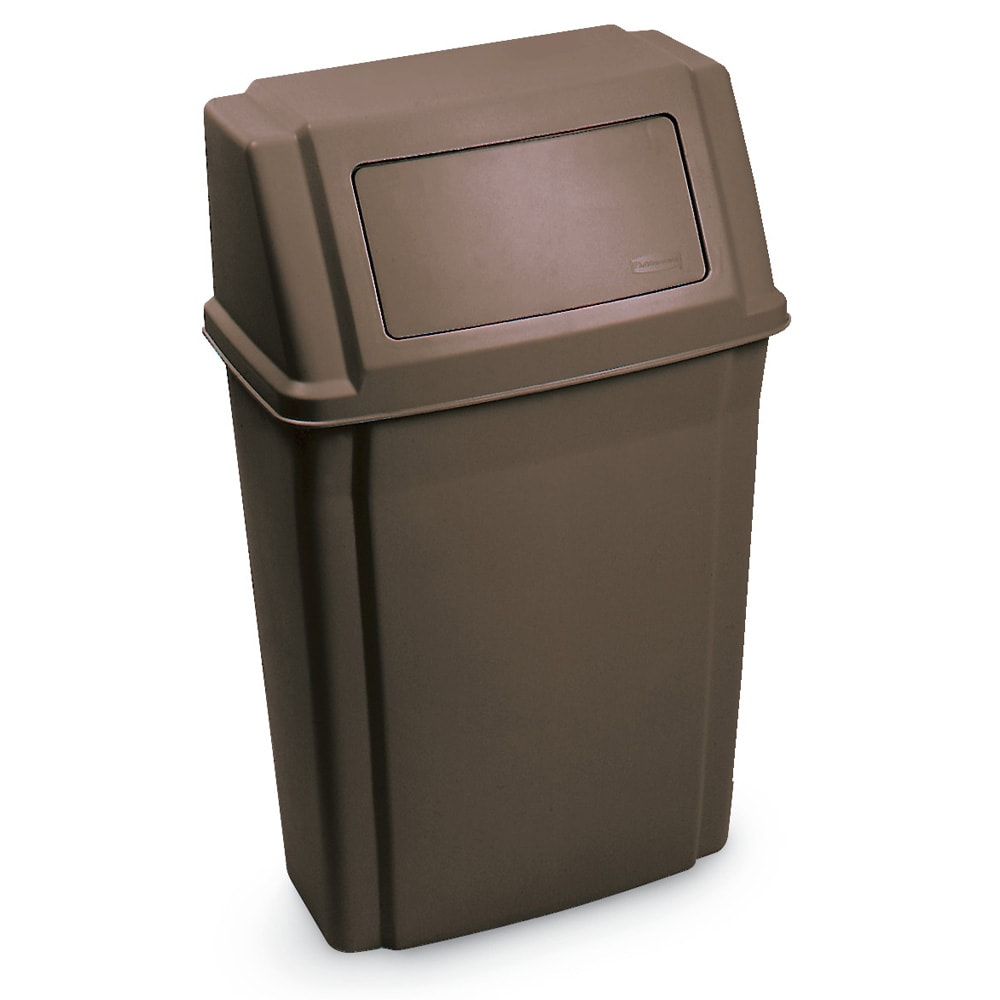 "Rubbermaid FG782200BRN 15-gal Rectangle Slim Trash Can, 19.5""L x 11.87""W x 32.63""H, Brown"