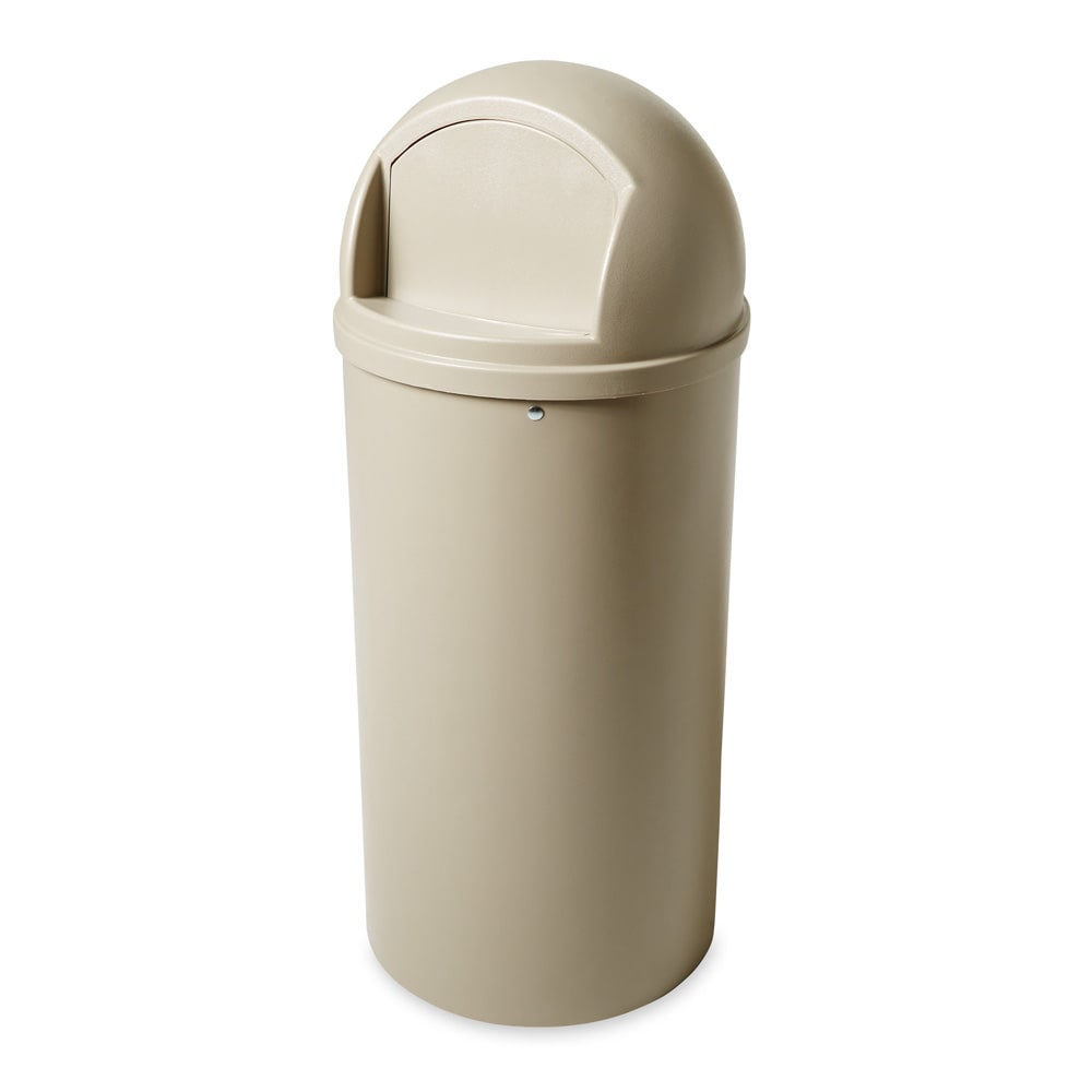 Rubbermaid FG817088BEIG 25 gal Indoor Decorative Trash Can - Plastic, Beige