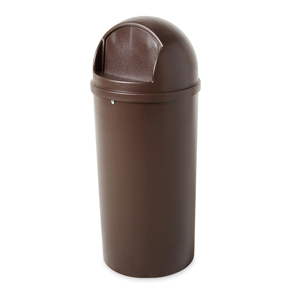 Rubbermaid FG817088BRN 25 gal Indoor Decorative Trash Can - Plastic, Brown