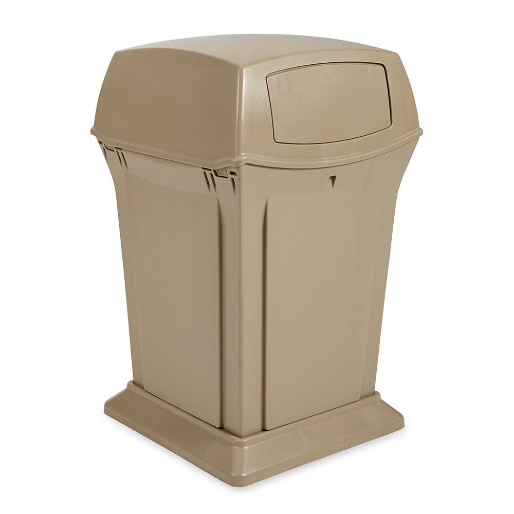 Rubbermaid FG917188BEIG 45-gal Outdoor Decorative Trash Can - Plastic, Beige