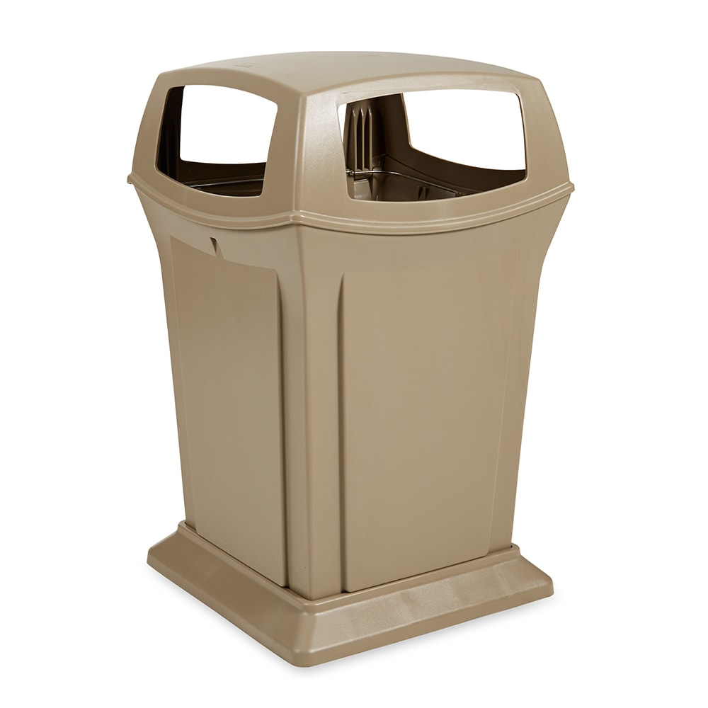 Rubbermaid FG917388BEIG 45 gal Outdoor Decorative Trash Can - Plastic, Beige