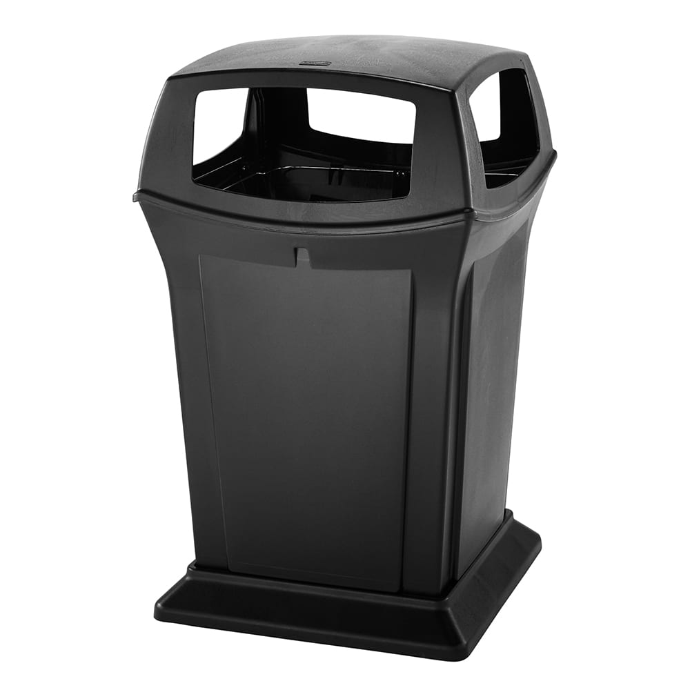 Rubbermaid FG917388BLA 45 gal Outdoor Decorative Trash Can - Plastic, Black
