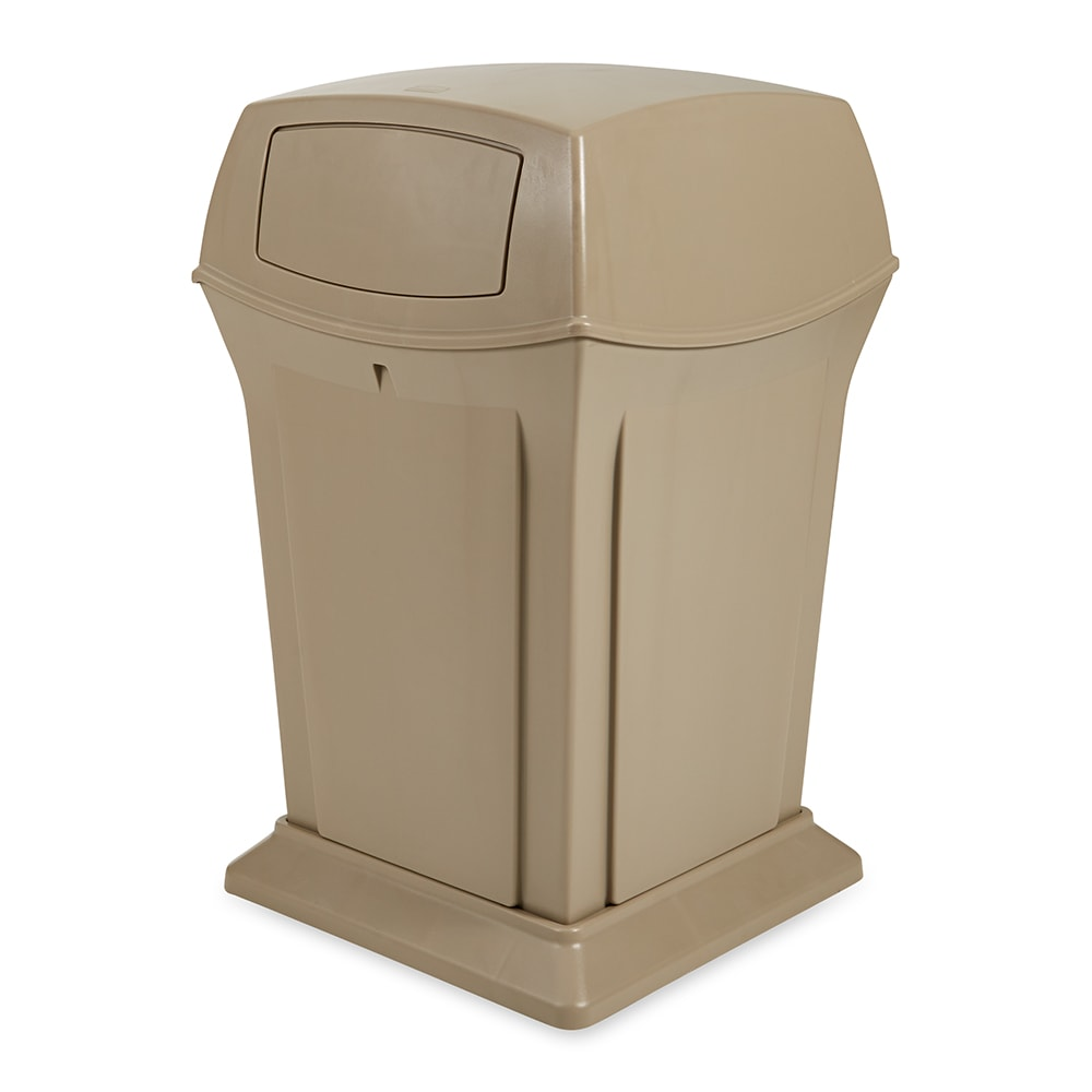 Rubbermaid FG917500BEIG 65 gal Outdoor Decorative Trash Can - Plastic, Beige