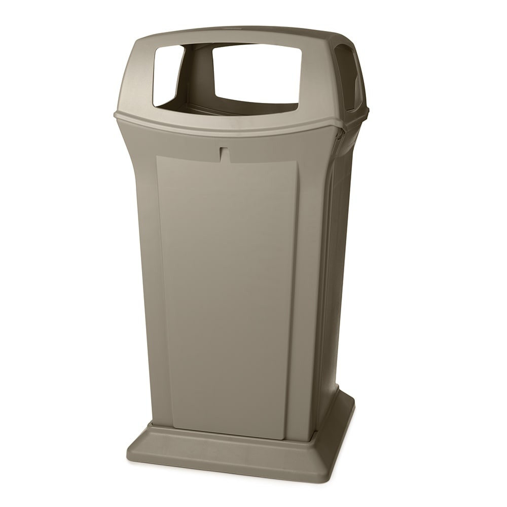 Rubbermaid FG917600BEIG 65 gal Outdoor Decorative Trash Can - Plastic, Beige