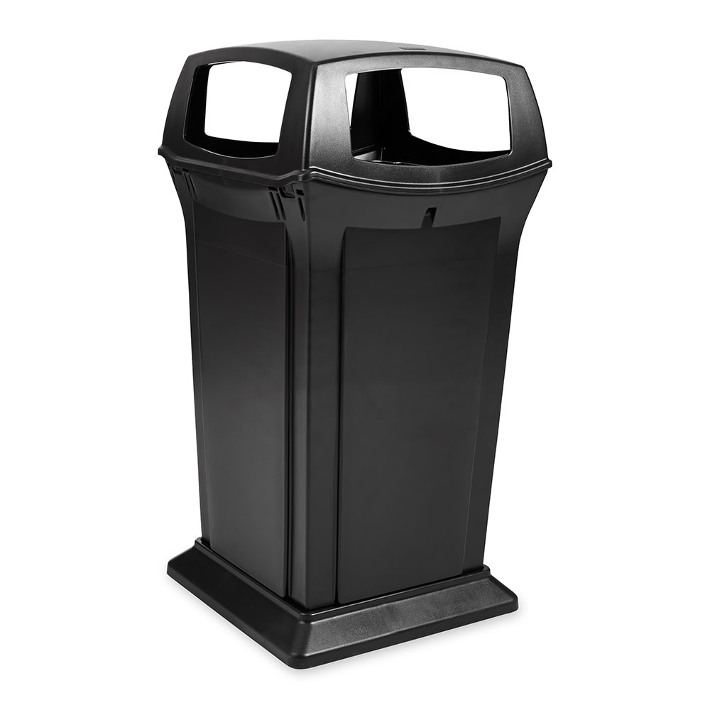 Rubbermaid FG917600BLA 65-gal Outdoor Decorative Trash Can - Plastic, Black
