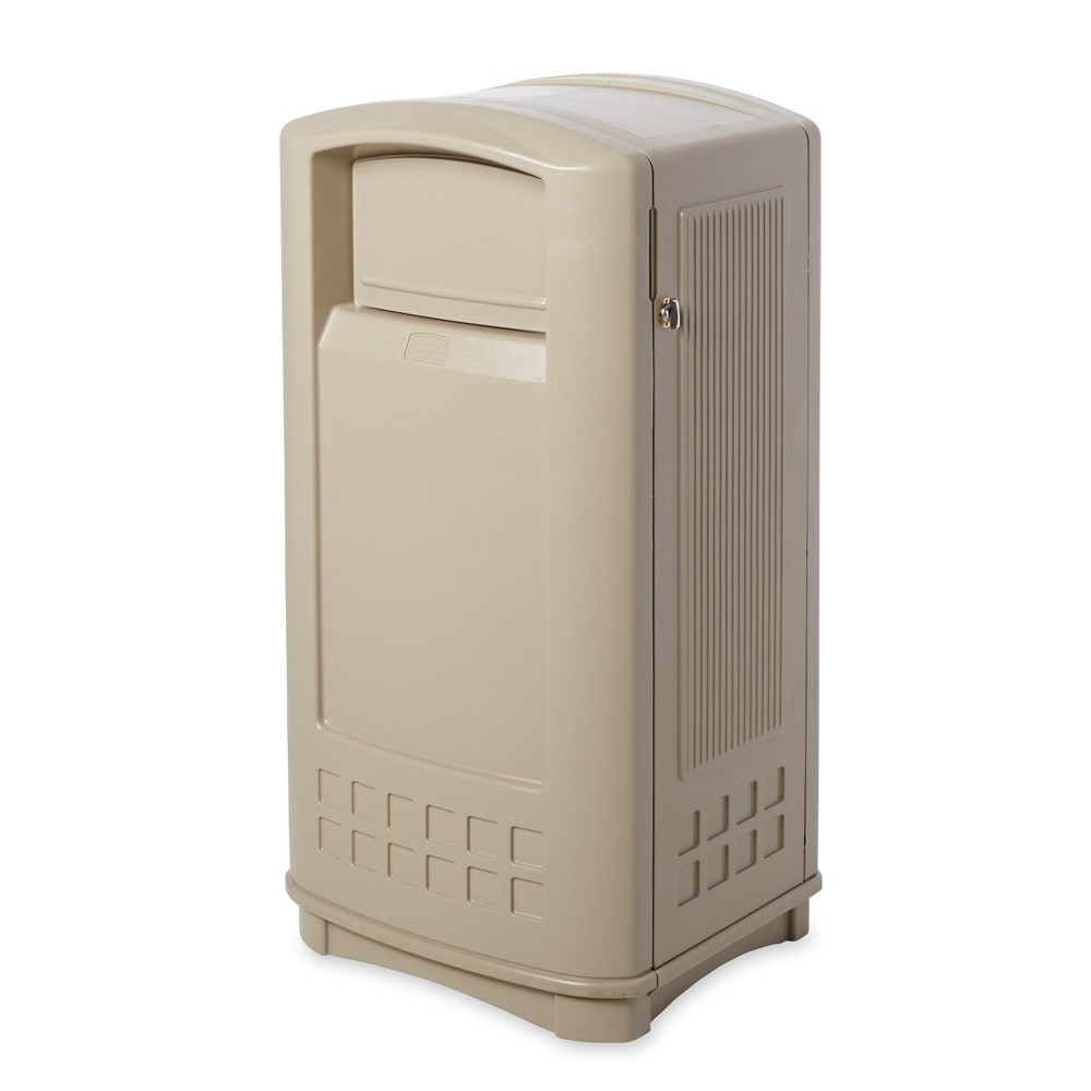 Rubbermaid FG9P9000BEIG 35-gal Outdoor Decorative Trash Can - Plastic, Beige