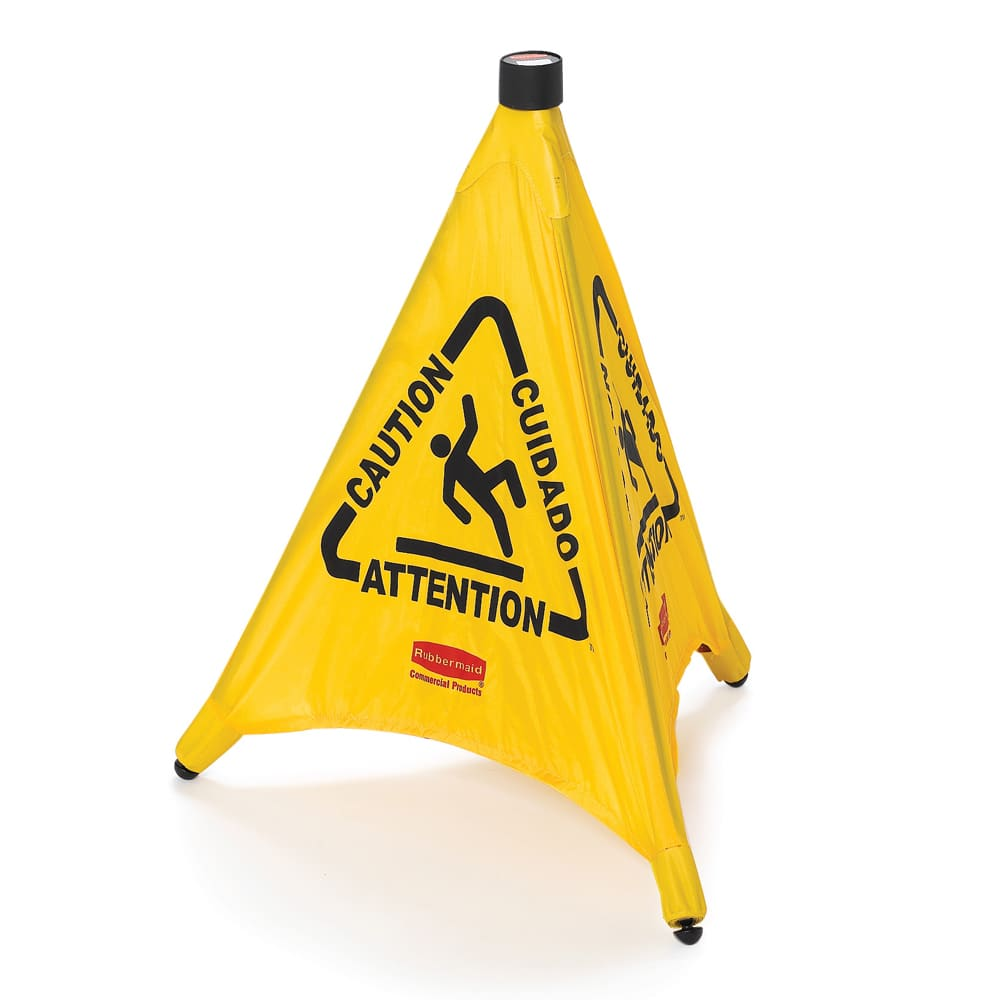 """Rubbermaid FG9S0000YEL 20"""" Pop-Up Safety Cone - Multi-Lingual """"Caution"""