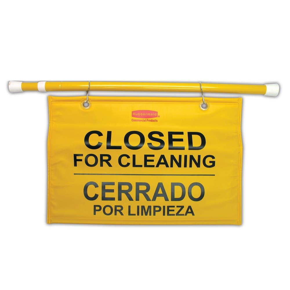 "Rubbermaid FG9S1600YEL Site Safety Hanging Sign - Multi-Lingual ""Closed for Cleaning"""