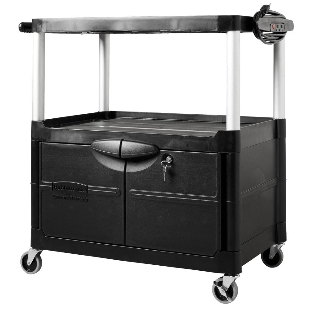 Rubbermaid FG9T2900BLA 3 Level Media Cart w/ 150 lb Capacity & 10 ft Cord