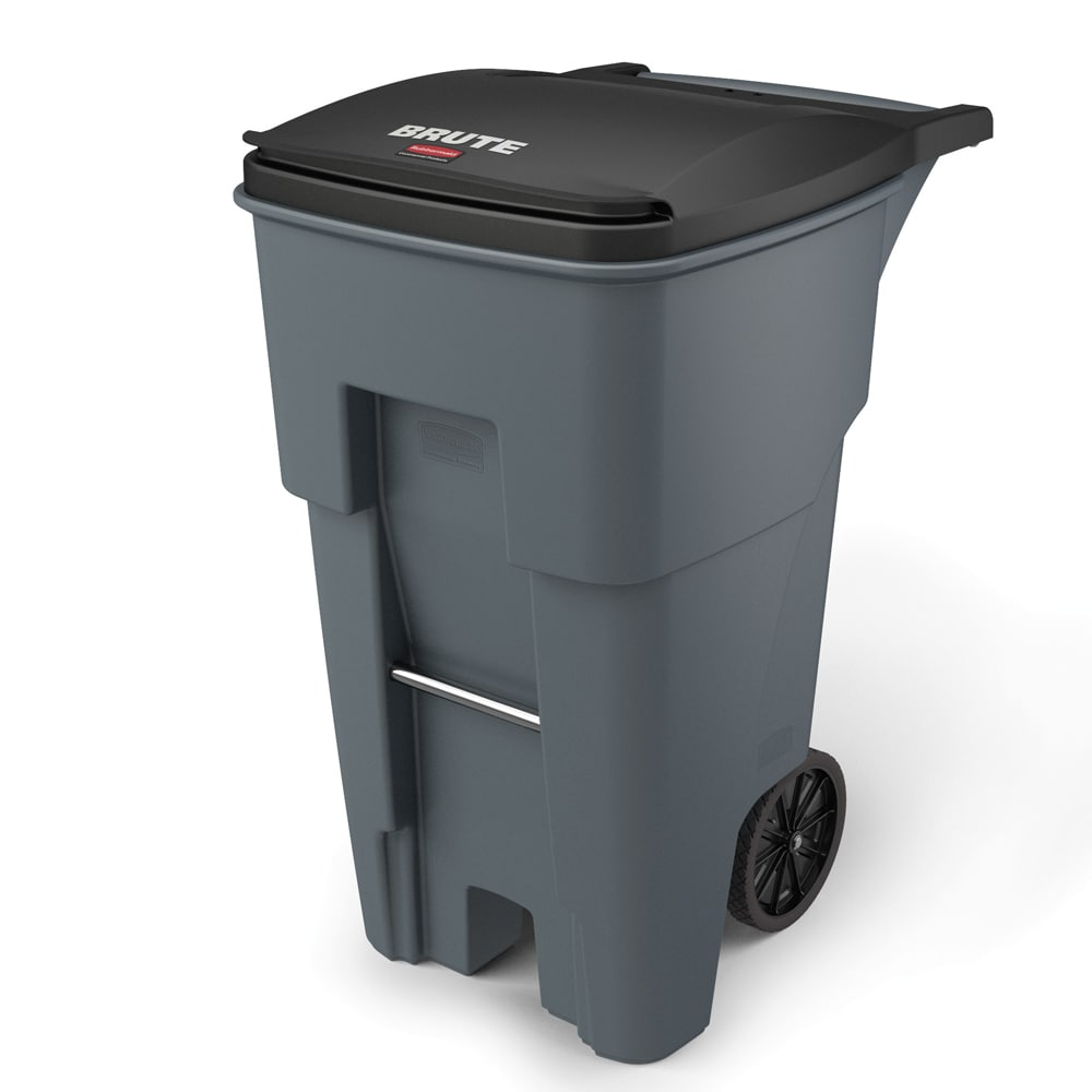 "Rubbermaid FG9W2100GRAY 65-gal Utility Wheeled Trash Can - 41.8-H x 25.23-W x 32.3""-L, Gray"