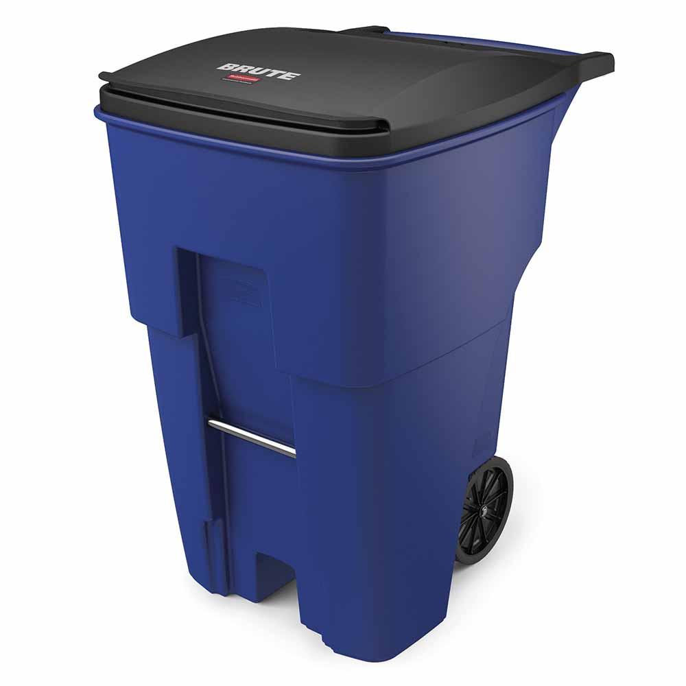 """Rubbermaid FG9W2273BLUE 95-gal Utility Wheeled Trash Can - 45.6-H x 27.3-W x 35.4""""-L, Blue"""
