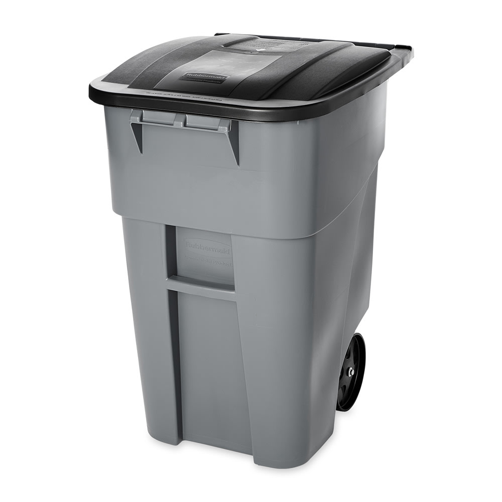 Rubbermaid FG9W2700GRAY 50 gal Multiple Material Recycle Bin - Indoor/Outdoor, Wheels