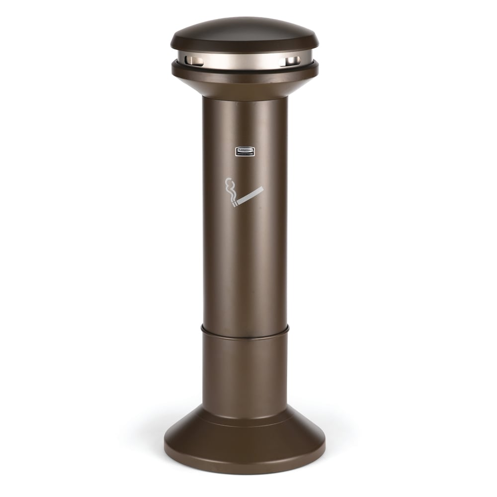 Rubbermaid FG9W3400AGBRNZ Pole Cigarette Receptacle w/ (1200) Butt Capacity, Domed Top