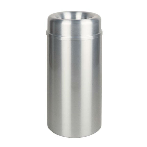 Rubbermaid FGAOT15SAPL 15-gal Indoor Decorative Trash Can - Metal, Satin Aluminum