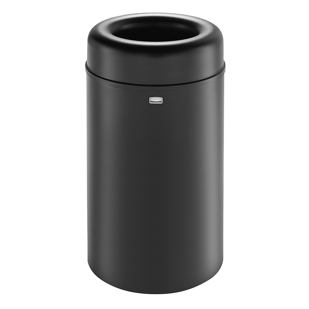 Rubbermaid FGAOT30BKPL 30 gal Indoor Decorative Trash Can - Metal, Black
