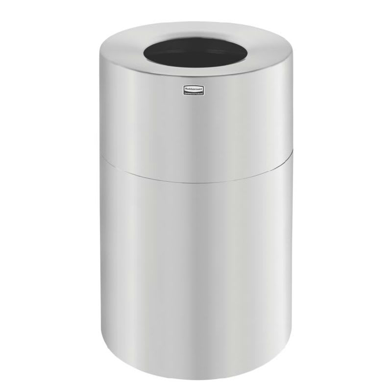 Rubbermaid FGAOT62SAPL 55-gal Indoor Decorative Trash Can - Metal, Satin Aluminum