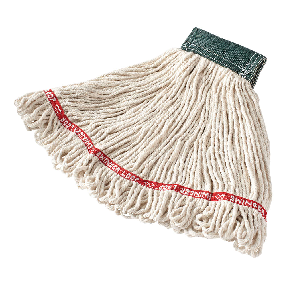 """Rubbermaid FGC15206WH00 Medium Swinger Loop Wet Mop - 5"""" Headband, 4 Ply Cotton/Synthetic, White"""
