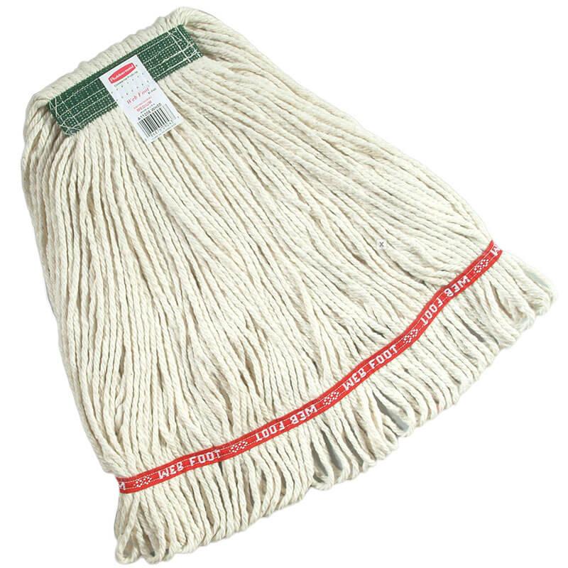"Rubbermaid FGD11206WH00 Medium Super Stitch Wet Mop Head - 4 Ply Cotton, 1"" Green Headband, White"