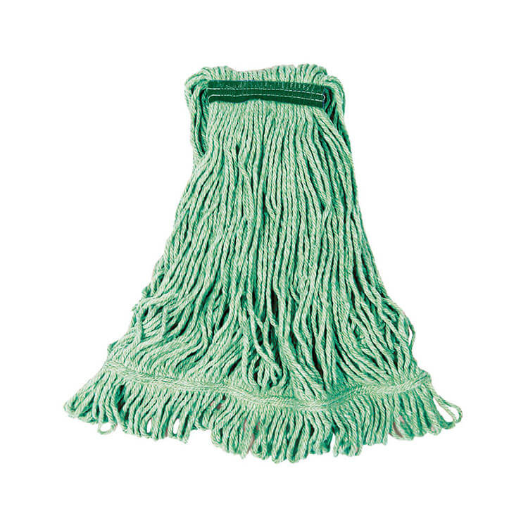 """Rubbermaid FGD21206GR00 Small Super Stitch Wet Mop Head - 4 Ply Cotton/Synthetic, 1"""" Headband, Green"""