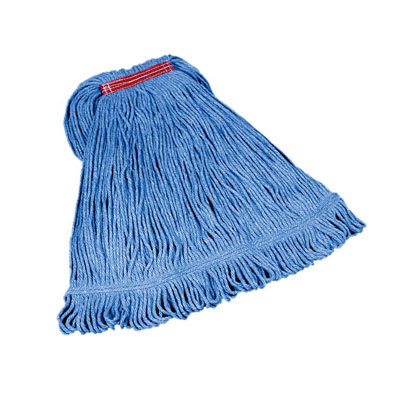 "Rubbermaid FGD21306BL00 Large Super Stitch Mop Head - 4 Ply Cotton/Synthetic, 1"" Headband, Blue"