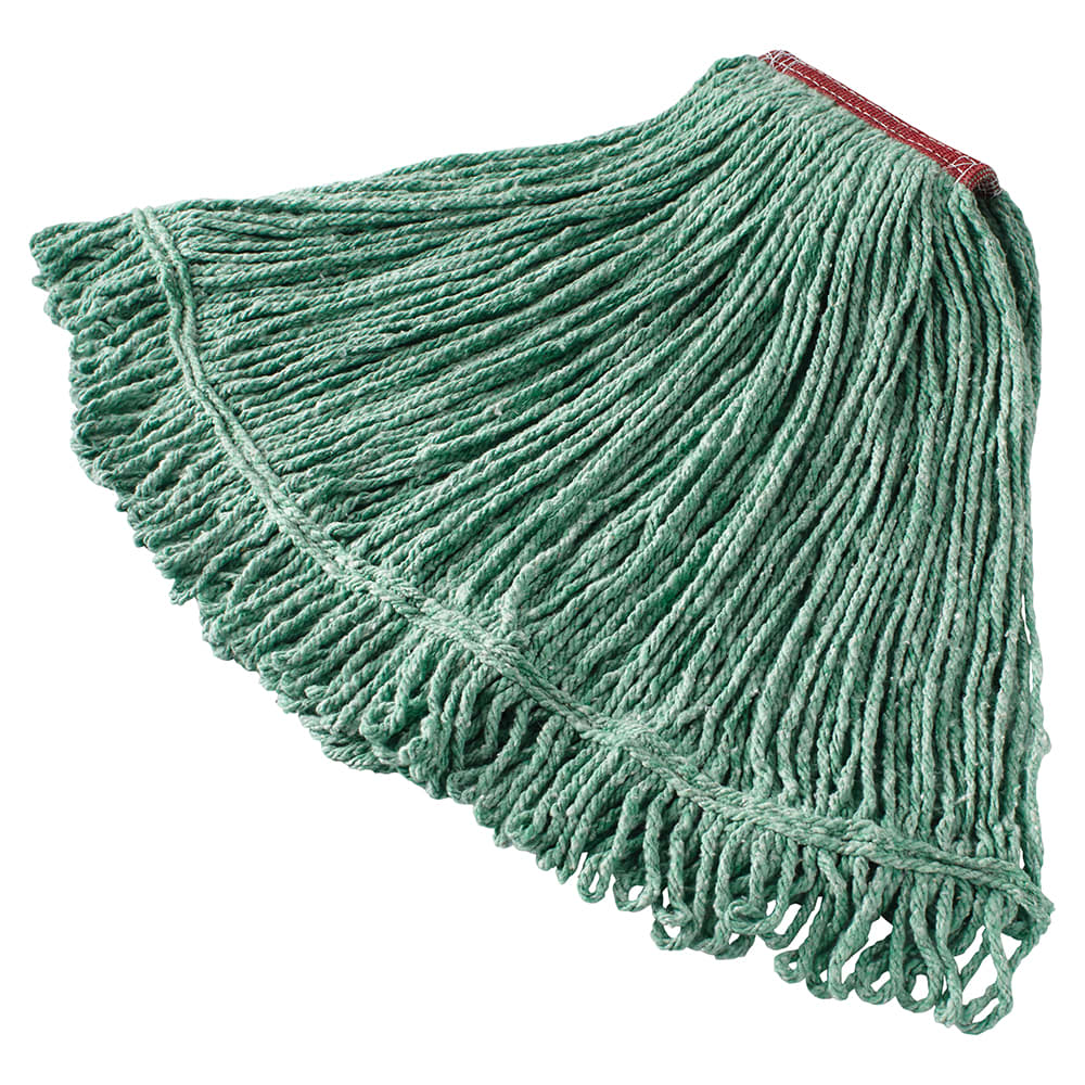 "Rubbermaid FGD21306GR00 Large Super Stitch Mop Head - 4-Ply Cotton/Synthetic, 1"" Headband, Green"