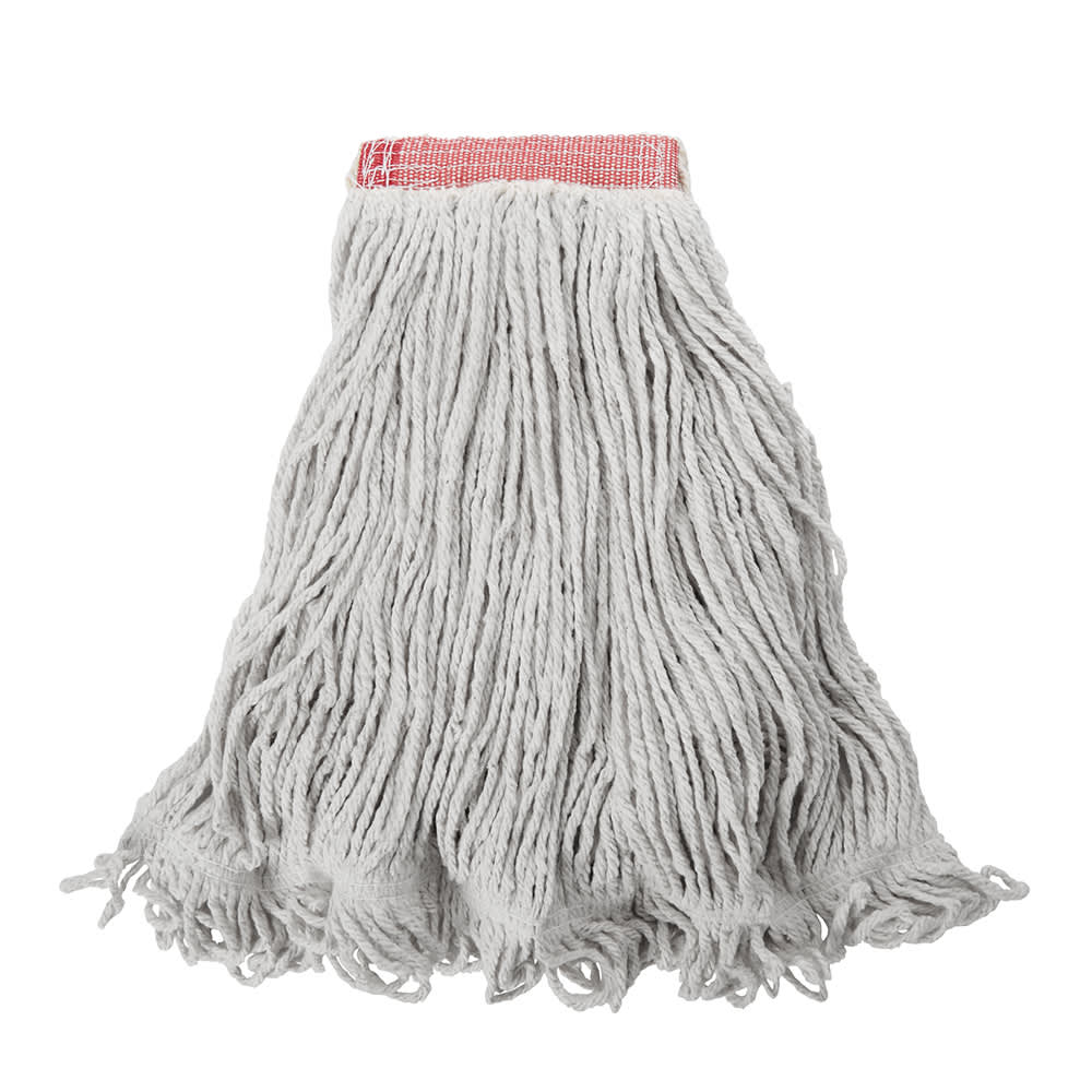 "Rubbermaid FGD21306WH00 Large Super Stitch Mop Head - 4-Ply Cotton/Synthetic, 1"" Headband, White"