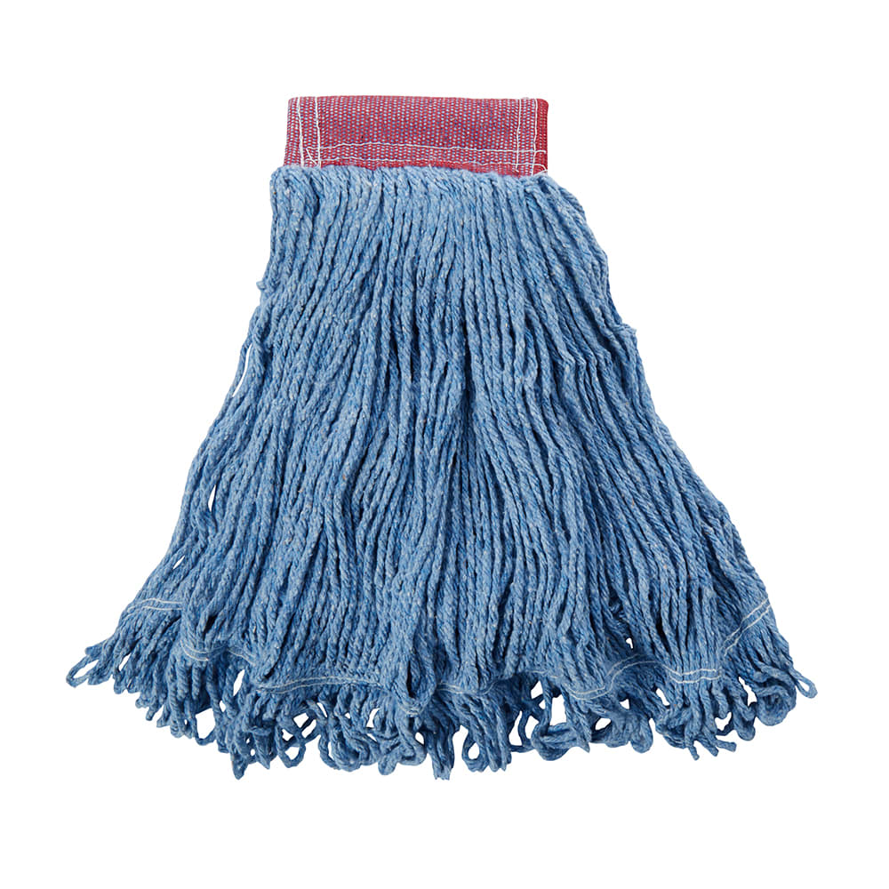 "Rubbermaid FGD25306BL00 Large Super Stitch Mop Head - 4 Ply Cotton/Synthetic, 5"" Headband, Blue"