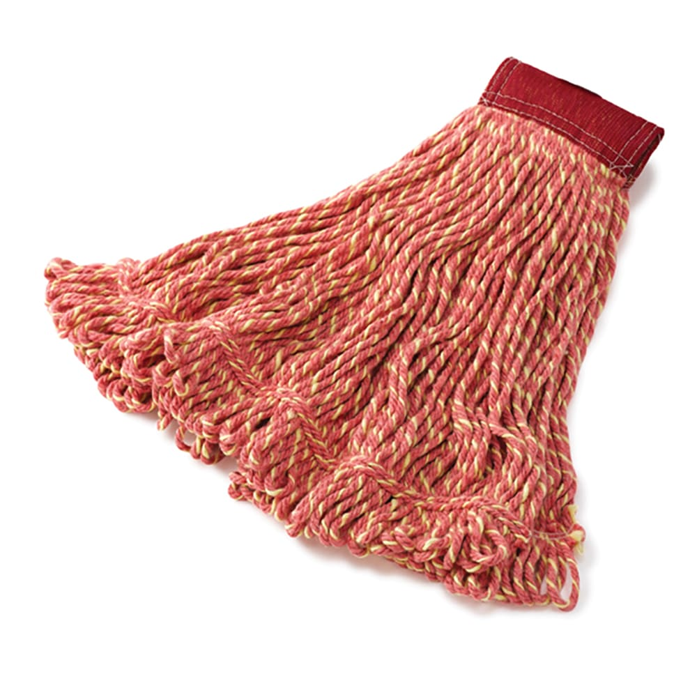 """Rubbermaid FGD25306RD00 Large Super Stitch Mop Head - 4-Ply Cotton/Synthetic, 5"""" Headband, Red"""